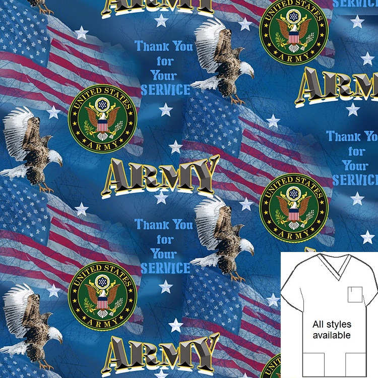 PAT111019 - Army - military patriotic print scrubs
