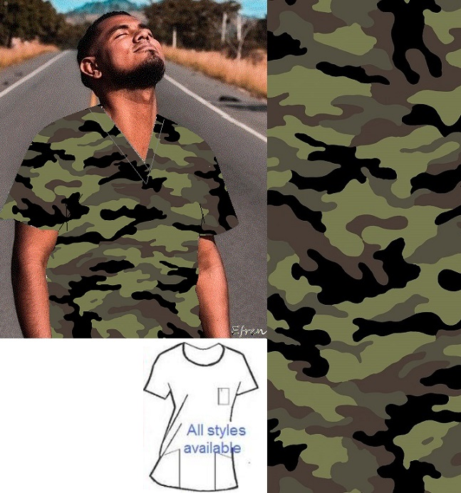 camo print scrubs men women