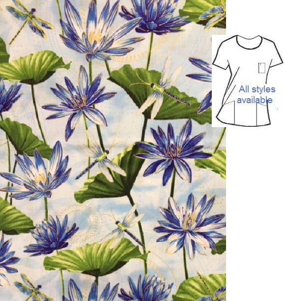 Dragonfly dragonflies cotton print scrubs