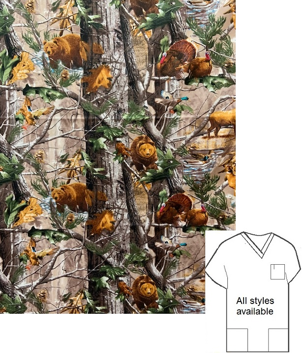 MNAW41920 - RealTree Animals In Forest unisex scrub tops
