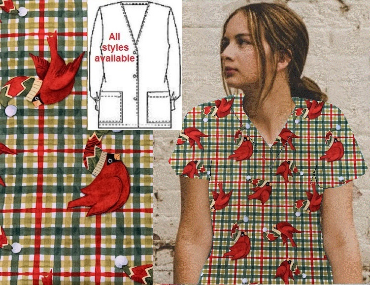 Winter wishes Christmas printed scrubs