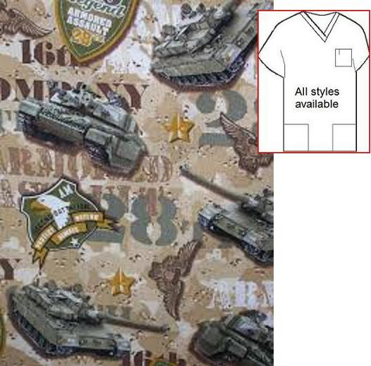 28th Armored Assault - military patriotic print scrubs