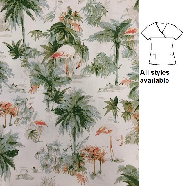 ATWW1820 - Flamingo Beach tropical animal print scrubs