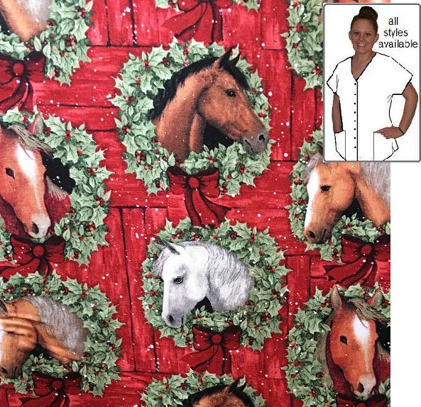 ACHOL5559 - Horse In Holiday Flair - Veterinary Christmas print scrubs