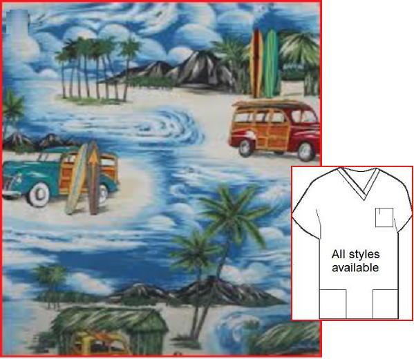 T82416837 - Woodie Wagons On Vacation -in   tropical print scrubs