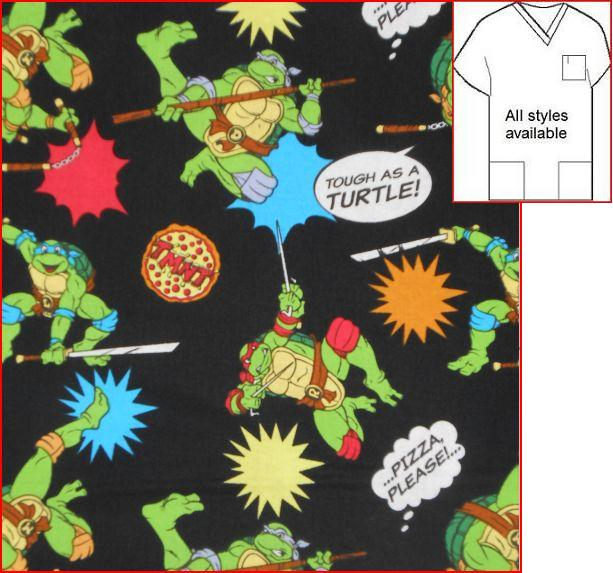 CART621008SC - Tough As A Ninja Turtle - Cartoon Print Scrubs