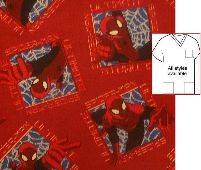 CART12814 - Spiderman Ultimate Wall Crawler - Cartoon Scrub Tops