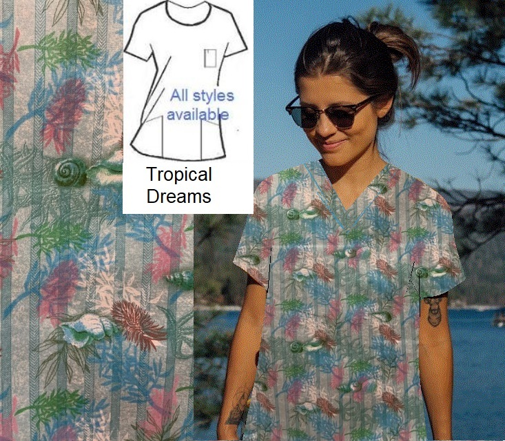 AOF21413 - Tropical Dreams - Custom Made Scrubs