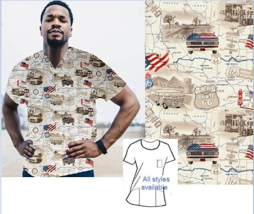 route 66 patriotic print scrubs men