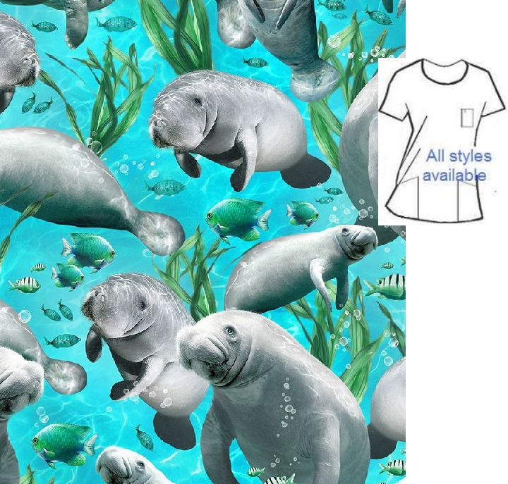 AO63020 - Manatees animal print scrubs