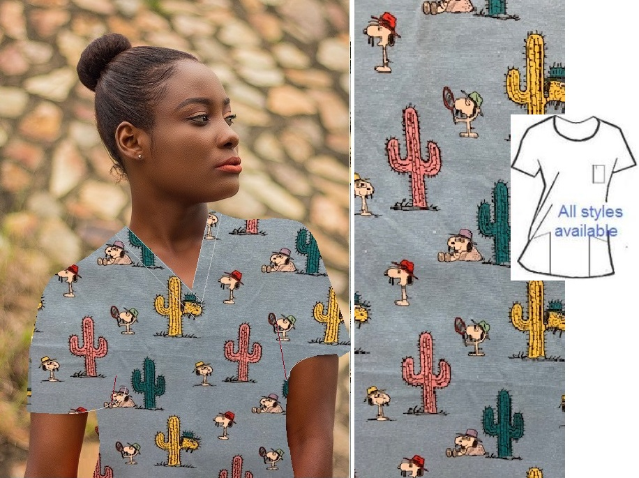 CART9619433 - Spikes Cactus Patch cartoon character print scrubs
