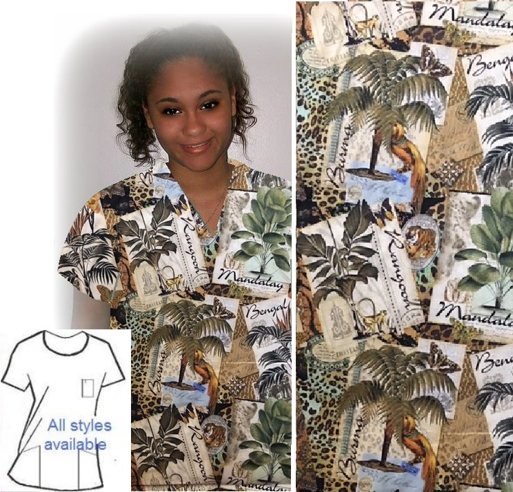 TD13017 - Tropical Asian Travel -- oriental print scrubs