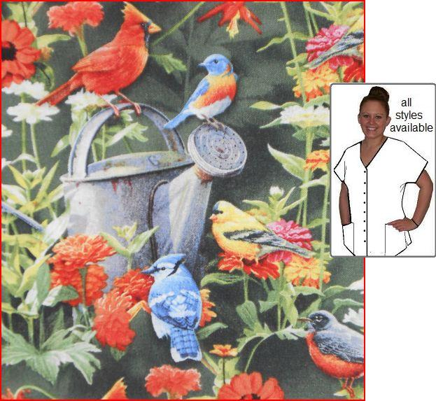 Fine feathered friends print scrub tops