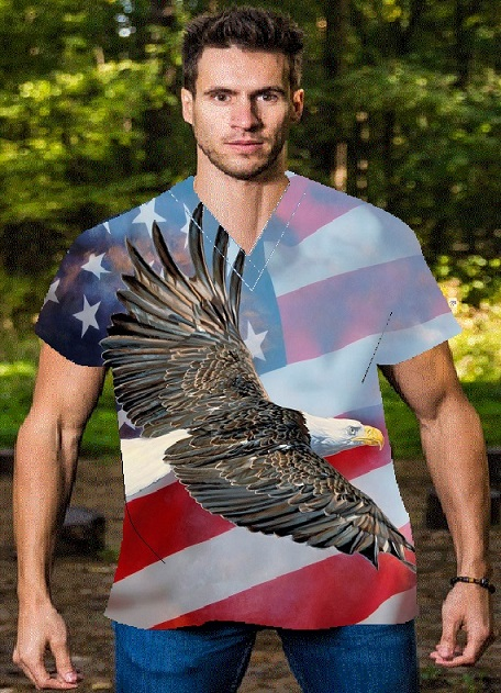 eagle on flag patriotic print scrubs