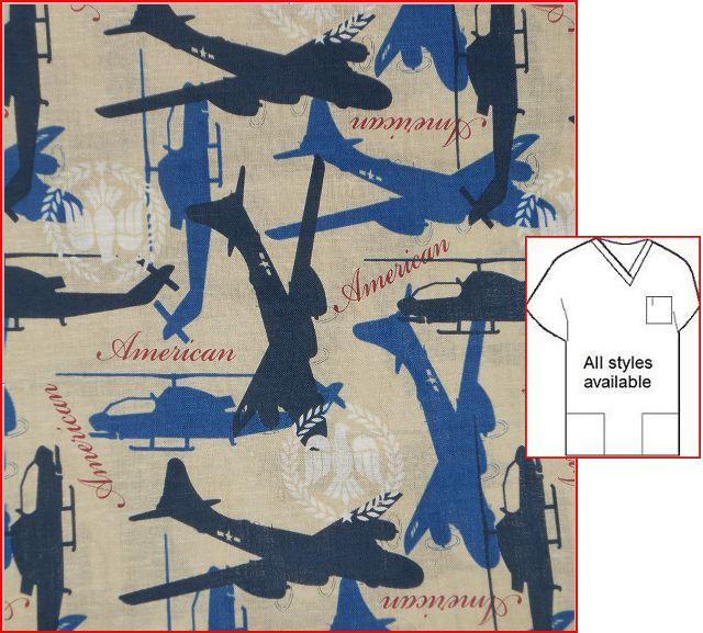 SUPPAT072212A - Patriotic Warbirds Military Print Scrubs
