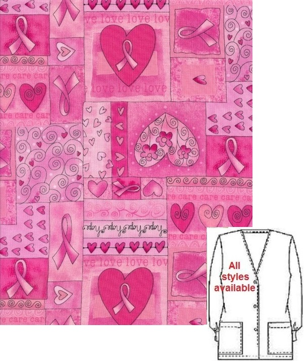 GN12005 - Pink Ribbons Breast Cancer Awareness --Printed Scrub Tops