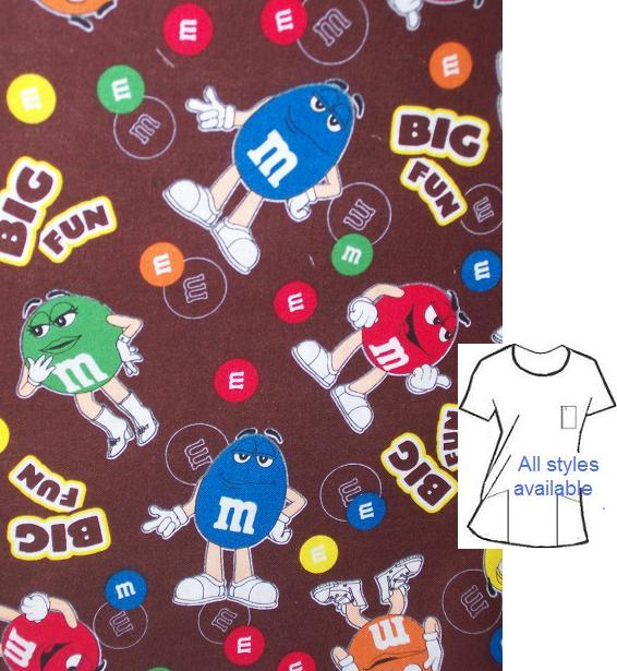 candy01A - M&M Big Fun Unique Print Scrubs