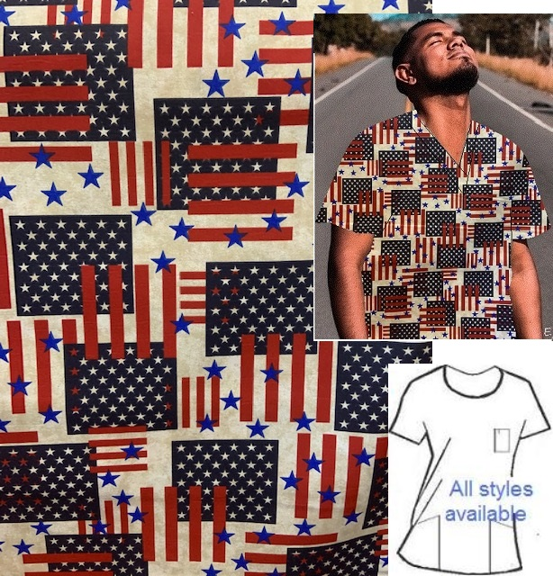 SUP91220 - Patriotism unique patriotic print scrubs