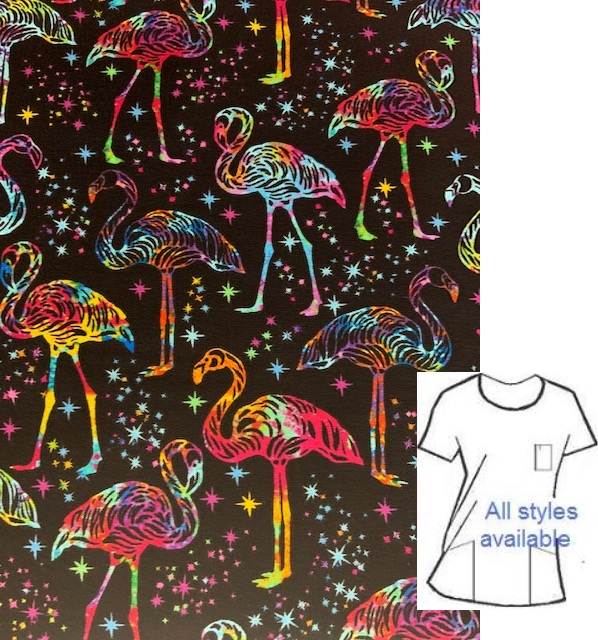 T53120 - Neon Flamingos tropical animal print scrubs