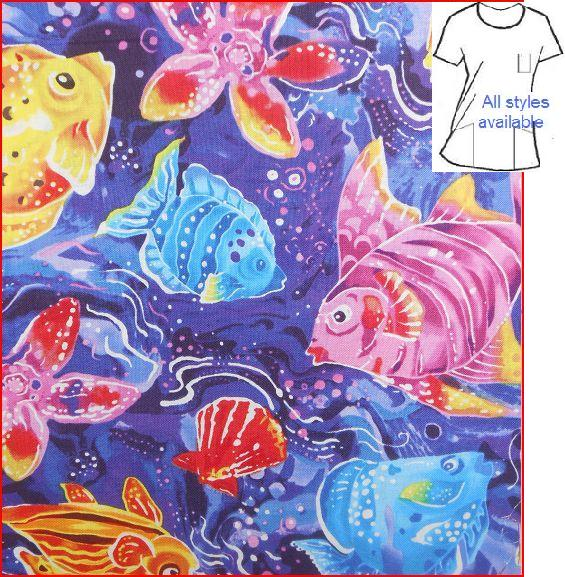 AO5813 - Salt Water Fishy - Ocean Sea life Print Scrubs