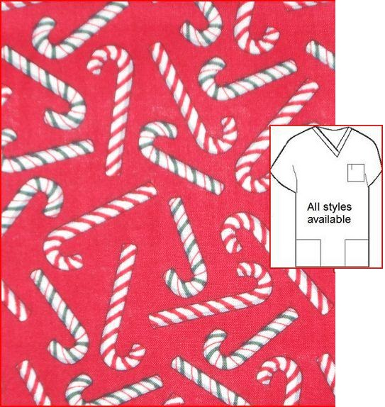 candy cane Christmas holiday print scrubs