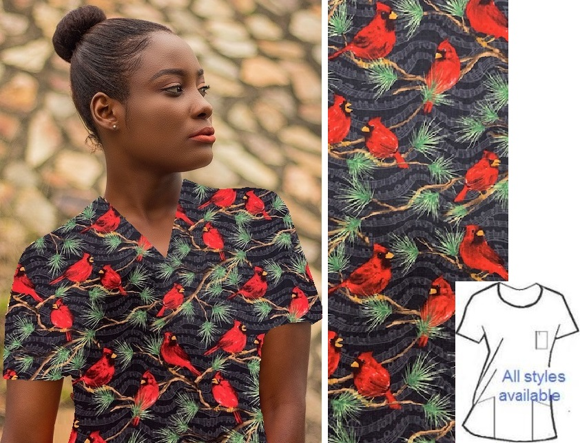 APB3814 - Winter Pine - Cardinal Animal Print Scrub Tops