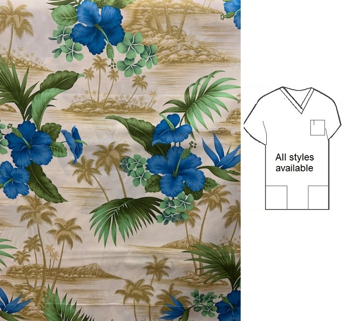 sea breeze tropical hawaiian print scrubs