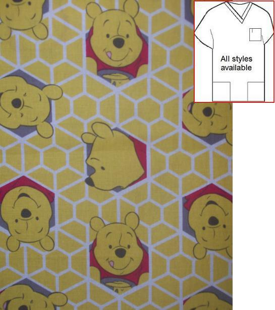 CART81314A - Winnie The Pooh In A Honeycomb Cartoon Print Scrub Top