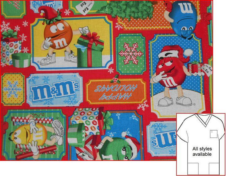 M&M holiday toss Christmas scrubs