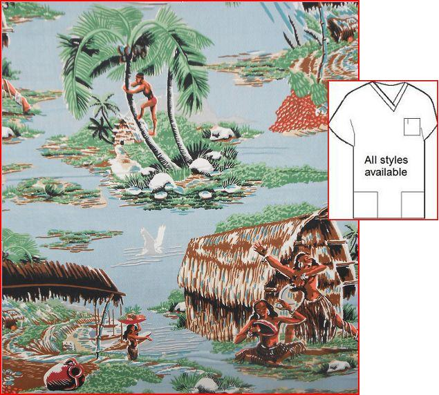 TI10614 - Road to Haleiwa - Hawaiian Island Tropical Scrub Tops