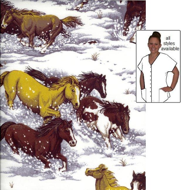 VET5712 - Wild in Snow - Horse Animal Print Scrubs