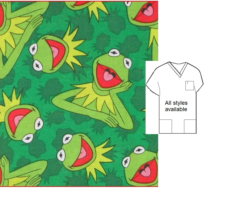 CARTP111414 - Kermit Cartoon Pediatric Scrubs